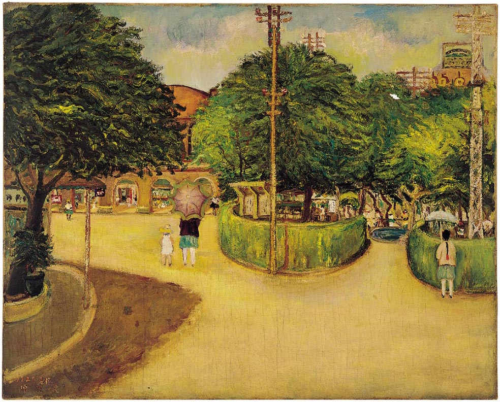 夏日街景/ 陳澄波/ 1927/ 畫布·油彩/ 79×98cm/ 臺北市立美術館典藏。這張畫在2002年被選為「臺灣近代畫作郵票」系列。